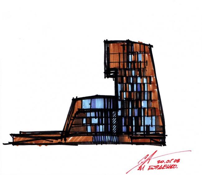 Жилой дом на ул. Бурденко. Эскиз Сергея Скуратова © Сергей Скуратов architects
