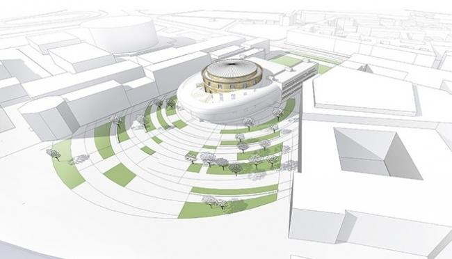 Здание театра балета Бориса Эйфмана. Проект, 2014 © Архитектурное бюро «А.Лен»