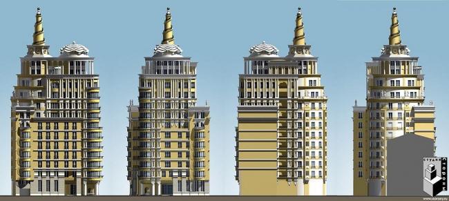 Жилой дом с подземной автостоянкой «Патриарх» © Архитектурная мастерская Сергея Ткаченко