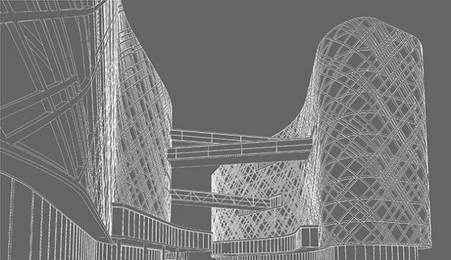 Гостиничный и общественно-деловой комплекс с паркингом. Проект, 2007 © Архитектурное бюро «А.Лен»