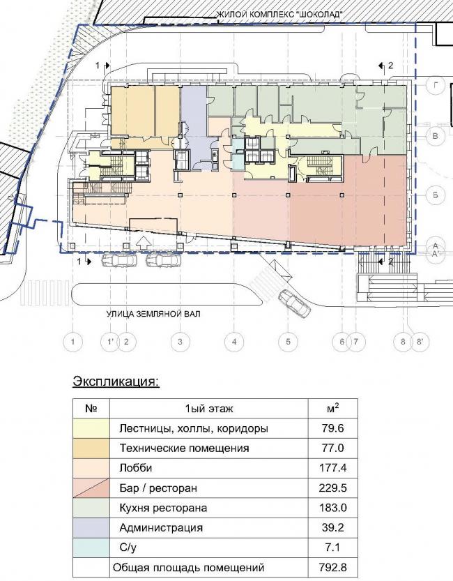 Гостиница «Novotel». План 1 этажа © Архитектурная мастерская «ГРАН»