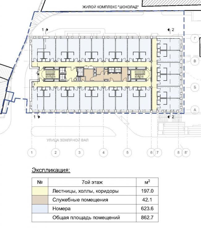 Гостиница «Novotel». План 7 этажа © Архитектурная мастерская «ГРАН»