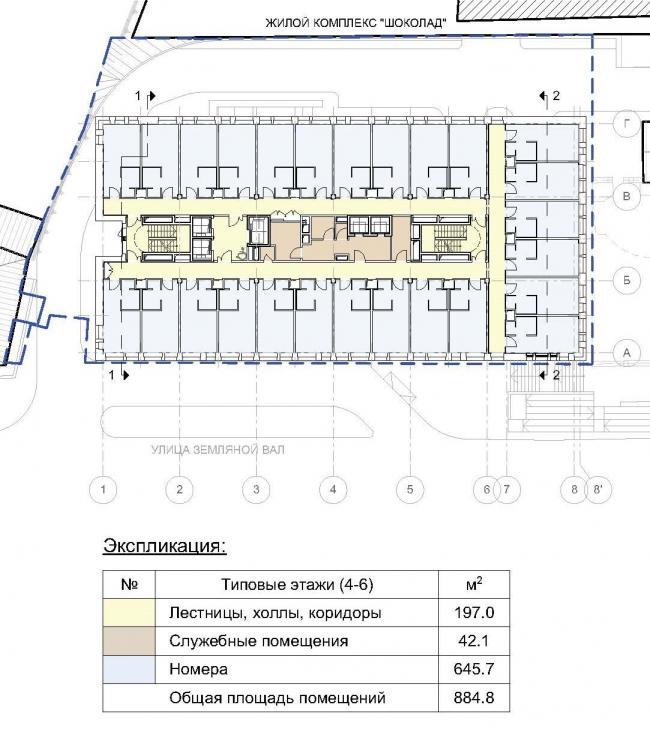 Гостиница «Novotel». План типового этажа © Архитектурная мастерская «ГРАН»