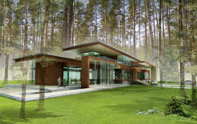 Малоэтажный жилой дом в Репино. Проект, 2008 © Архитектурное бюро «А.Лен»