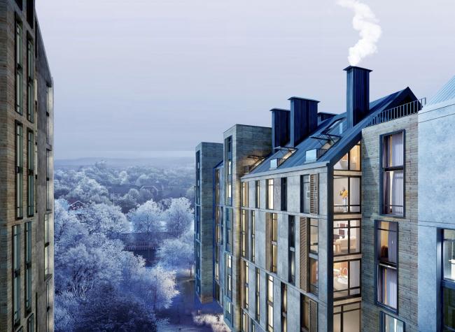 The housing complex on the Stryiska Street in Lviv. Terraces. Project, 2016 © Archimatika
