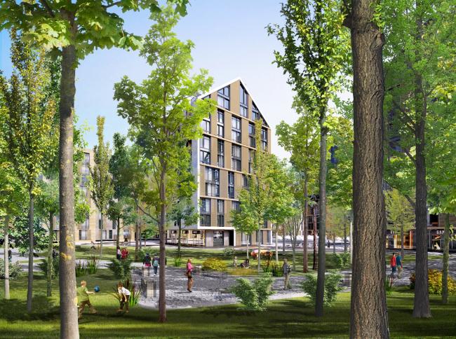 The housing complex on the Stryiska Street in Lviv. Park. Project, 2016 © Archimatika
