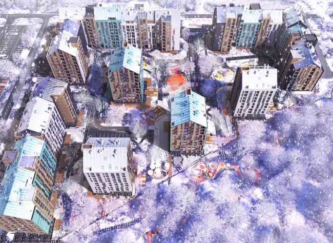 The housing complex on the Stryiska Street in Lviv. Birds-eye view. Project, 2016 © Archimatika