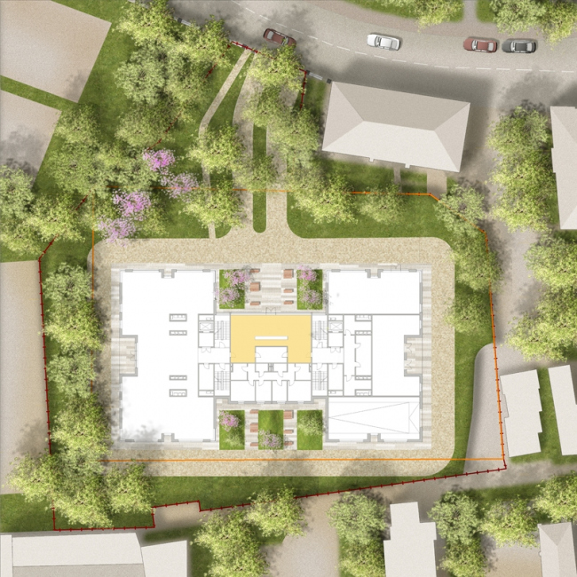 The club house in the Gorokhovsky Lane. The master plan of the territory improvement © ADM architects