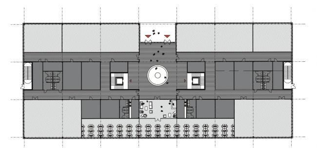 Технопарка Сбербанка на территории инновационного центра Сколково. Знаковое здание. План. Проект, 2016 © Архитектурная мастерская «Гран»