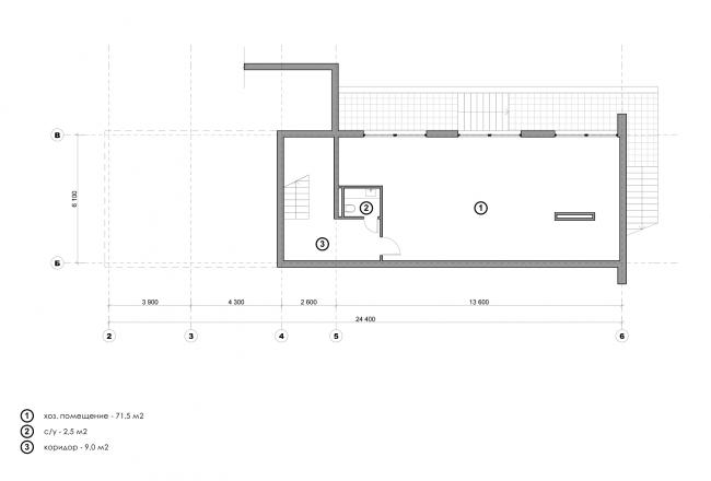 Жилой дом Сross. План цокольного этажа © Максим Любецкий