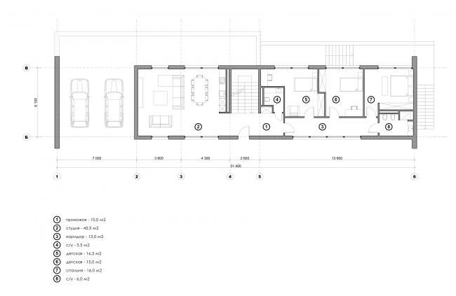 Жилой дом Сross. План 1-го этажа © Максим Любецкий