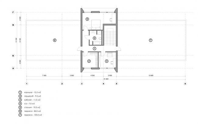 Жилой дом Сross. План 2-го этажа © Максим Любецкий