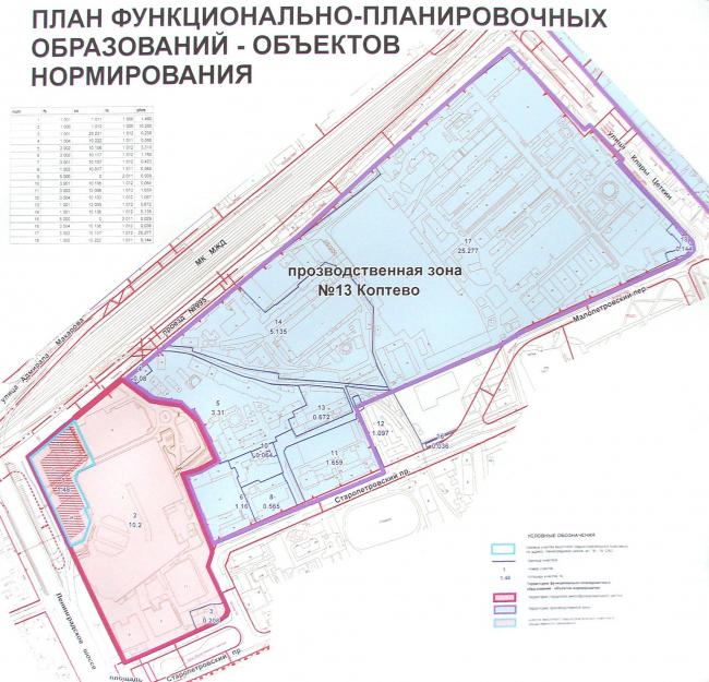 Схема промзоны «Коптево». Справа розовым – участок «Метрополиса»; на нем в верхнм левом (западном) углу – участок башен