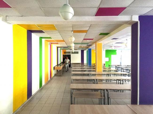 Реновация школы №1273. Интерьер столовой © Архитектурное бюро Асадова