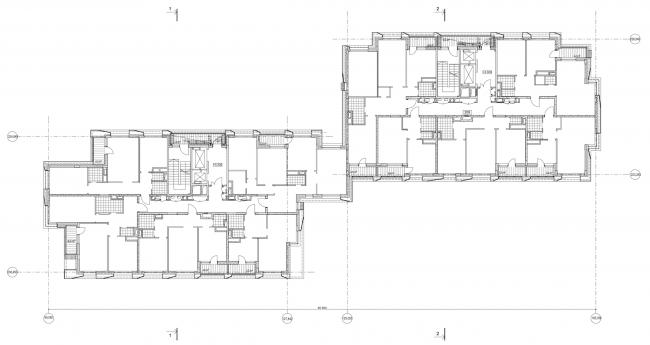 Жилой дом на Борисовской улице. План 2 этажа © Архитектурное бюро Асадова