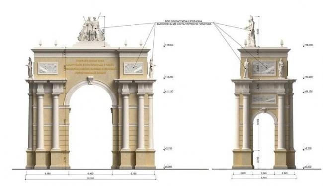 Триумфальная арка в Волгограде. Проект, 2012 © ГрандПроекСити