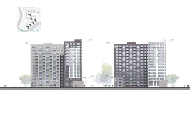 Застройка территории квартала на ул. Магнитогорская. Фасад, корпуса 3-9. Проект, 2015 © Архитектурное бюро «А.Лен»