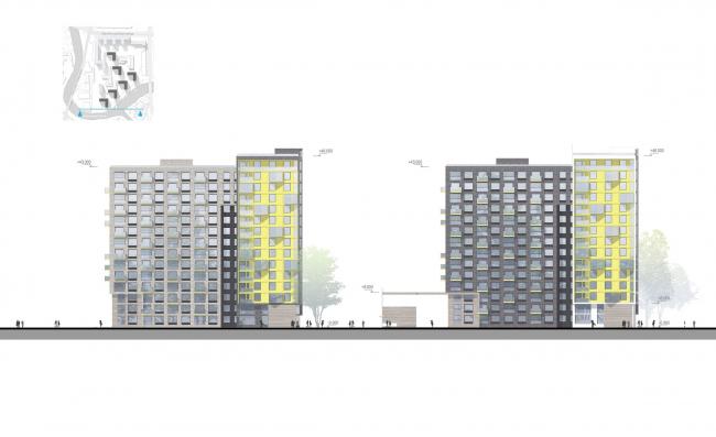 Застройка территории квартала на ул. Магнитогорская. Фасад, корпуса 3-9, вариант 3. Проект, 2015 © Архитектурное бюро «А.Лен»