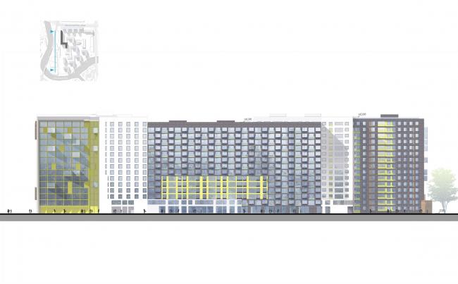 Застройка территории квартала на ул. Магнитогорская. Фасад, корпус 2. Проект, 2015 © Архитектурное бюро «А.Лен»