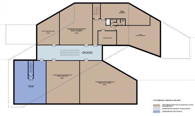 Комплекс вилл и винодельня в Ялте. План 1 этажа винодельни. Проект, 2016 © Архитектурная мастерская Цыцина