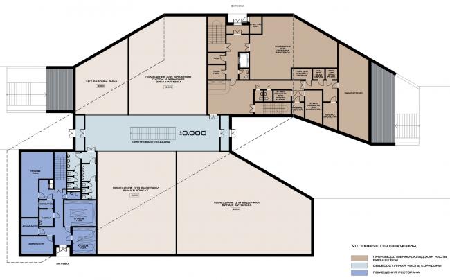 Комплекс вилл и винодельня в Ялте. План 2 этажа винодельни. Проект, 2016 © Архитектурная мастерская Цыцина