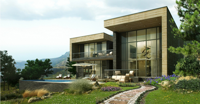 The villa complex and a winemaking center in Yalta. The villas. Project, 2016 © Sergey Tsytsin architects