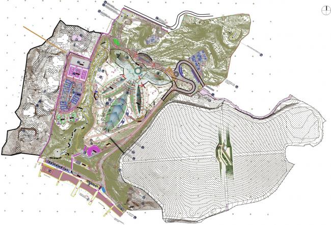 Комплекс вилл и винодельня в Ялте. Генеральный план. Проект, 2016 © Архитектурная мастерская Цыцина