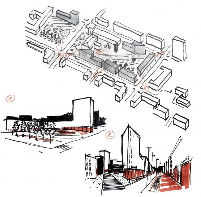 Mind the gap / Внимание, пустота!. Серия открытых площадей. Проект, выполненный в рамках воркшопа «Лаборатория преобразований. Шаболовка: модель для жизни» (AAVS + МАРШ) © AAVS