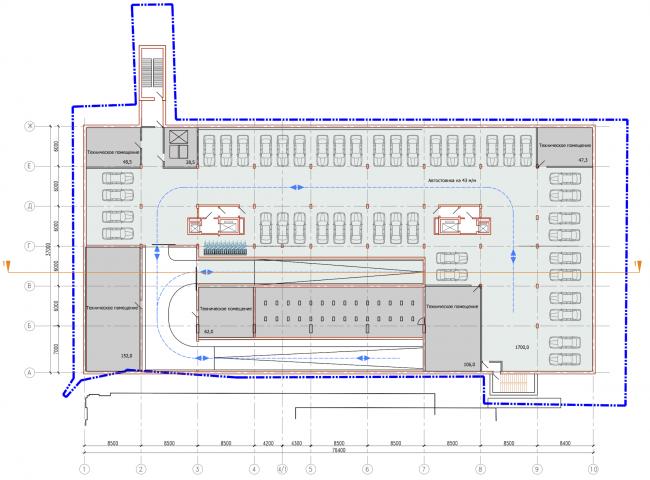 Административно-жилое здание на Трубецкой улице. План -1 этажа. Проект, 2015 © Мезонпроект
