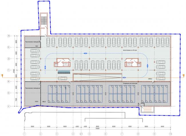 Административно-жилое здание на Трубецкой улице. План -2 этажа. Проект, 2015 © Мезонпроект