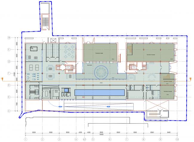 Административно-жилое здание на Трубецкой улице. План 1 этажа. Проект, 2015 © Мезонпроект
