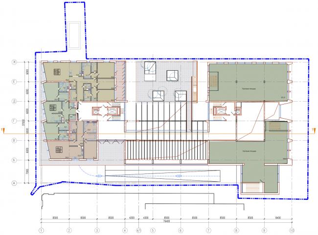 Административно-жилое здание на Трубецкой улице. План 2 этажа. Проект, 2015 © Мезонпроект