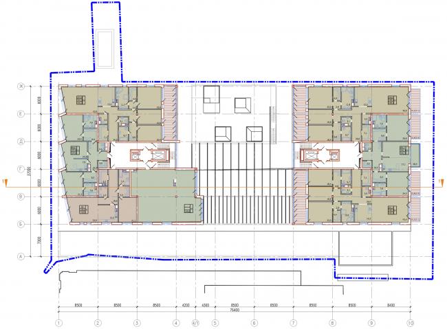 Административно-жилое здание на Трубецкой улице. План 3-6 этажей. Проект, 2015 © Мезонпроект