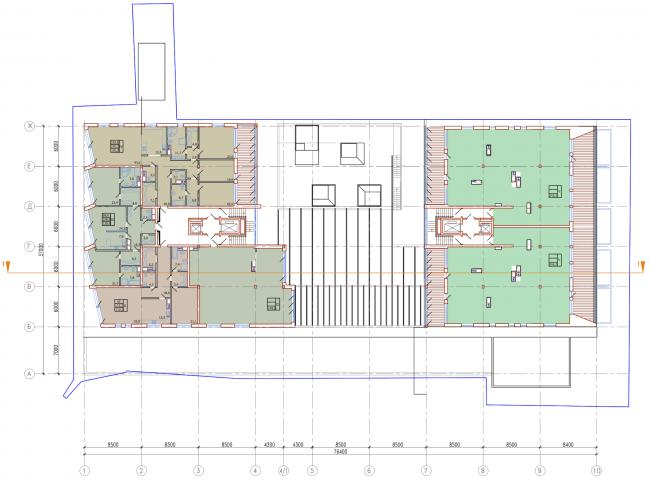 Административно-жилое здание на Трубецкой улице. План 7 этажа. Проект, 2015 © Мезонпроект