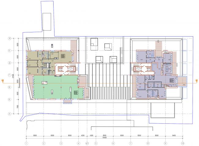 Административно-жилое здание на Трубецкой улице. План 8 этажа. Проект, 2015 © Мезонпроект