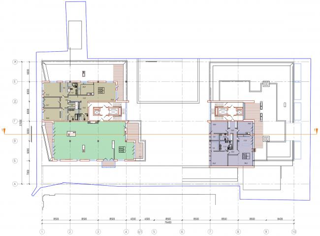 Административно-жилое здание на Трубецкой улице. План 9 этажа. Проект, 2015 © Мезонпроект