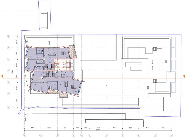 Административно-жилое здание на Трубецкой улице. План 10 этажа. Проект, 2015 © Мезонпроект