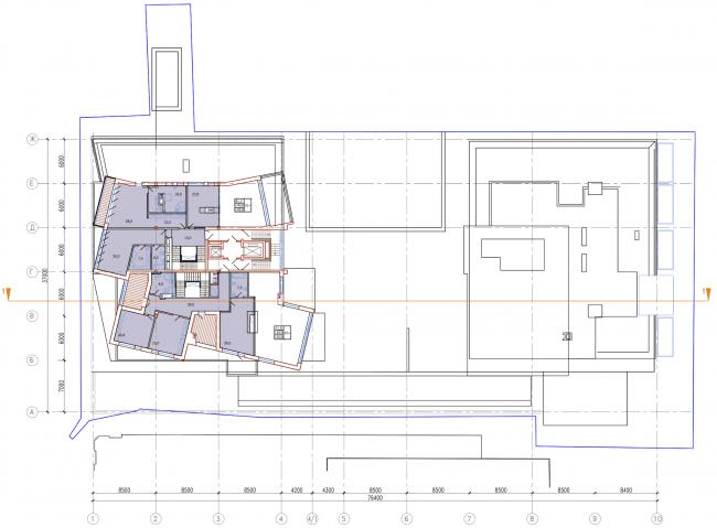 Административно-жилое здание на Трубецкой улице. План 11 этажа. Проект, 2015 © Мезонпроект