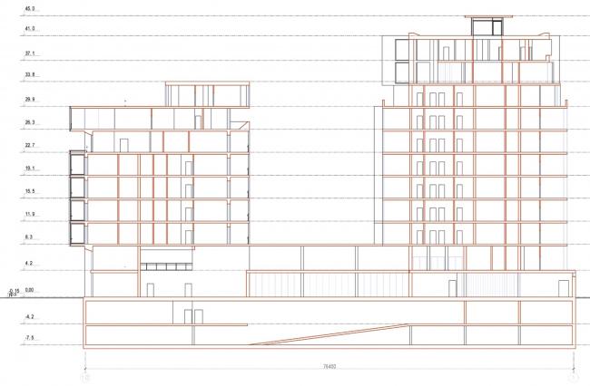 Административно-жилое здание на Трубецкой улице. Разрез. Проект, 2015 © Мезонпроект