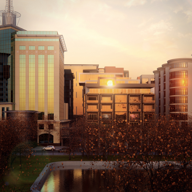 Административно-жилое здание на Трубецкой улице. Проект, 2015 © Мезонпроект
