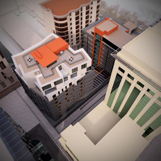 Административно-жилое здание на Трубецкой улице. Пентхаус на крыше. Проект, 2015 © Мезонпроект
