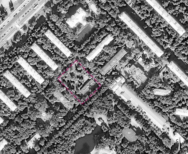 Концепция застройки участка в Москве. Граница участка застройки. Проект, 2016 © Архитектурная мастерская Сергея Эстрина