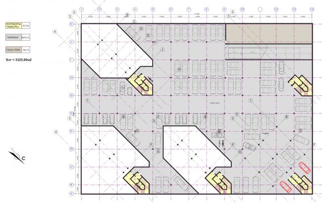 Концепция застройки участка в Москве. План парковки. Проект, 2016 © Архитектурная мастерская Сергея Эстрина