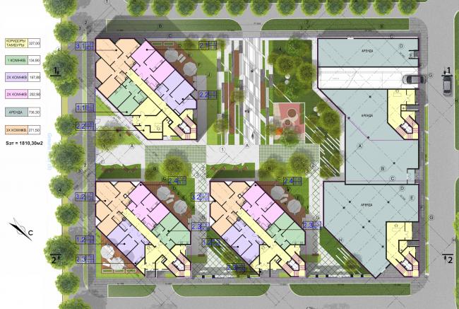 Концепция застройки участка в Москве. План 1 этажа. Проект, 2016 © Архитектурная мастерская Сергея Эстрина