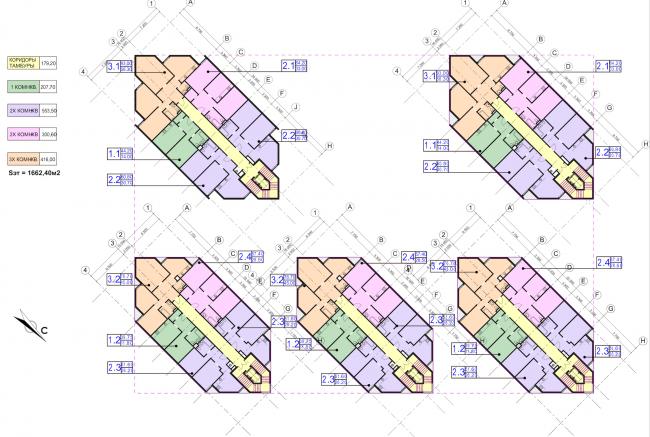 Концепция застройки участка в Москве. План 3 этажа. Проект, 2016 © Архитектурная мастерская Сергея Эстрина