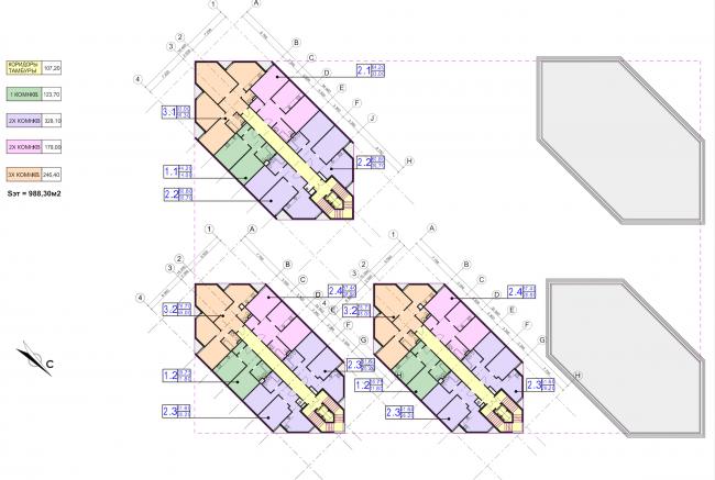 Концепция застройки участка в Москве. План 4 этажа. Проект, 2016 © Архитектурная мастерская Сергея Эстрина
