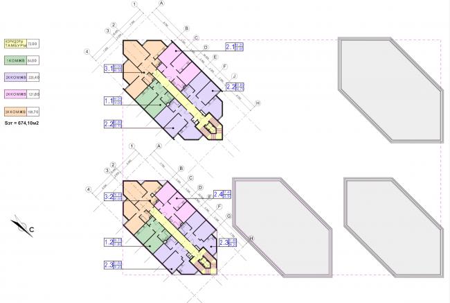Концепция застройки участка в Москве. План 5-6 этажей. Проект, 2016 © Архитектурная мастерская Сергея Эстрина