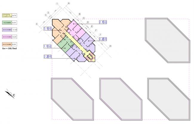 Концепция застройки участка в Москве. План 7-9 этажей. Проект, 2016 © Архитектурная мастерская Сергея Эстрина
