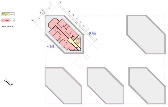 Концепция застройки участка в Москве. План 10 этажа. Проект, 2016 © Архитектурная мастерская Сергея Эстрина