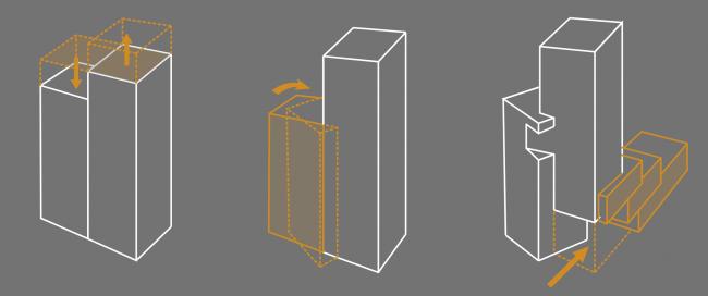 Схема построения объёмной композиции. Многоквартирный жилой дом на ул. Орджоникидзе. Схема формообразования. Проект, 2016 © Сити-Арх